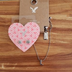 AEO Initial Necklace & Earrings Letter L - NWT